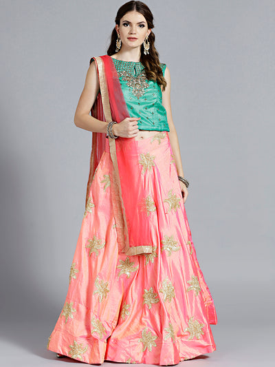 Chhabra 555 Pink Raw Silk Gota Patti Lehenga with contrast Kundan and Zircon Hand Embroidered Teal colored Blouse