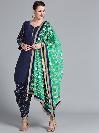 Chhabra 555 Made-to-Measure Blue Gota Patti Kurta Set with Embroidered Patiala Salwar & Teal Dupatta