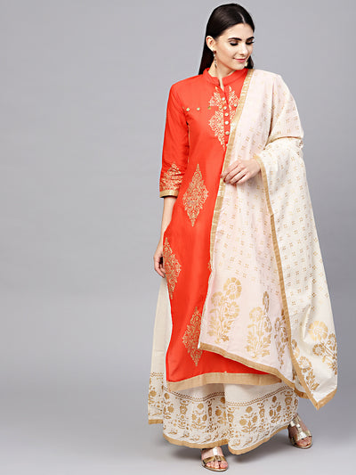 Chhabra 555 Orange Made-to-Measure Foil Printed Kurta With Contrast Pants and Dupatta