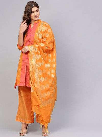 Chhabra 555 Orange Banarasi Handloom Dress Material with Zari Resham Weaving and Tassled dupatta