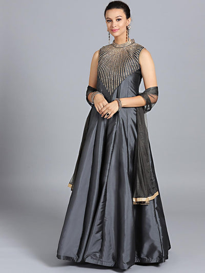 Chhabra 555 Dark Grey Art Silk Zircon Embroidered Stitched Gown With Net Dupatta