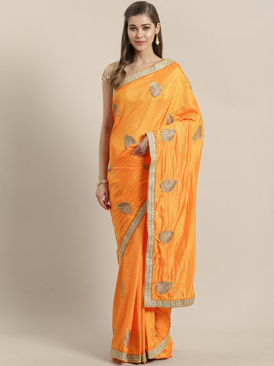 Chhabra 555 French Silk Embroidered Saree with Zari Embroidery border, crystals and Sequins