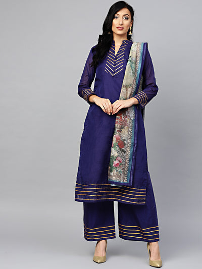 Chhabra 555 Blue Kurta Pallazo Set with Gota Patti and Digital Print Dupatta