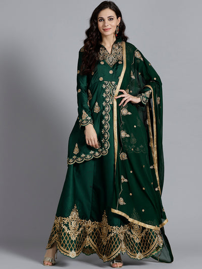 Chhabra 555 Bottle Green heavy Embellished Silk Crop top Lehanga With Thread Work, Pearl Work and beautiful Shining Zircon Choli with Dupatta