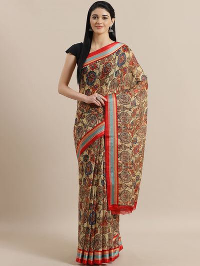 Chhabra 555 Bohemian Jute Cotton Silk Saree with Ethnic Motifs and Satin triple-color Broad Border