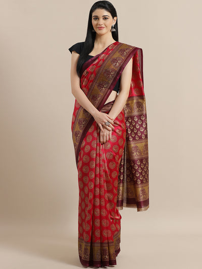 Chhabra 555 Fuchsia Bhagalpuri Silk Digital Print Saree with Ethnic Peacock and Mughal Ethnic Border