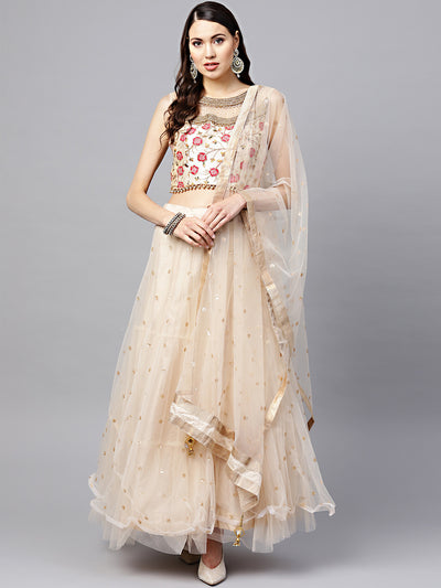 Chhabra 555 Made-to-Measure Cream Crop Top Lehenga Set with Zari Resham Embroidery and Layered Skirt