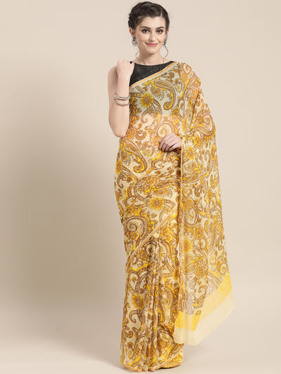Chhabra 555 Chiffon Ethnic paisley Motif Saree with Zari Woven Satin border and contrast blouse