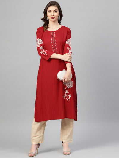Chhabra 555 Made to Measure Embellished Kurta Set With mirror work and Floral Resham Embroidery