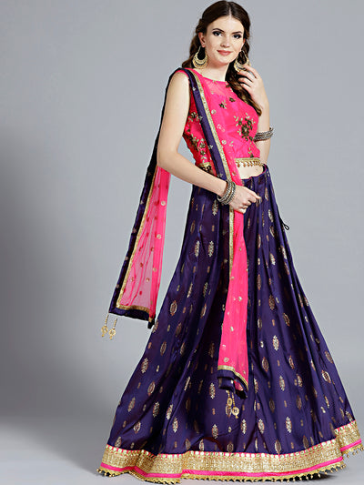 Chhabra 555 Purple Silk Foil and Glitter Print lehenga with contrast Kundan and Zircon Hand Embroidered Pink colored Blouse