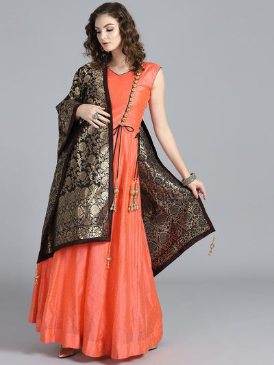 Chhabra 555 Orange & Black Art Silk Foil Print Embellished Stitched Anarkali Kurta Set With Heavy Banarasi Dupatta