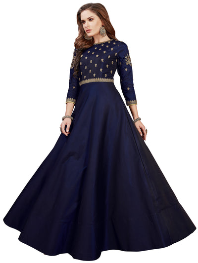 Chhabra 555 Made-to-Measure Blue Embellished Gown with Zari and Resham Embroidered yoke and sleeves
