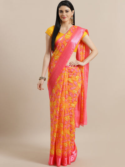 Chhabra 555 Artistic Jute Cotton Silk Saree with Leaves Motifs and Satin Printed Broad Border