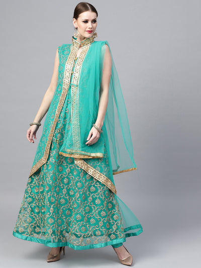 Chhabra 555 Made-to-Measure Teal Net Anarkali Kurta Set with Zari embroidery and matching jacket