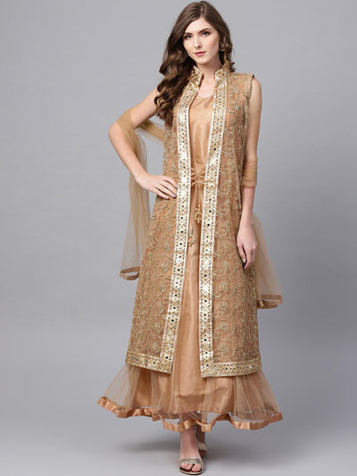 Chhabra 555 Gold Embroidered Layered Kurta Set with Mirror Embellishments and Jacket