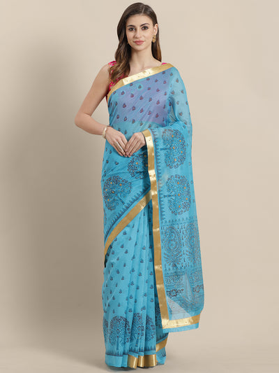 Chhabra 555 Chanderi Blockprinted Multicolor Saree with  Golden zari border and crystals