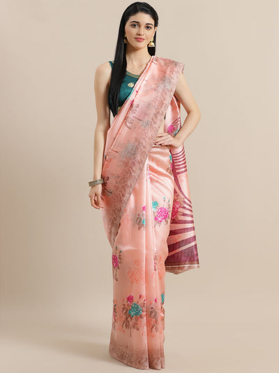 Chhabra 555 Pink Bhagalpuri Silk Saree with Floral Roses Digital Pattern and Khaki Blouse