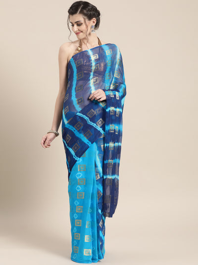 Chhabra 555 Chiffon Checked Ombre Bandhej Saree with Zari goemetrical woven design
