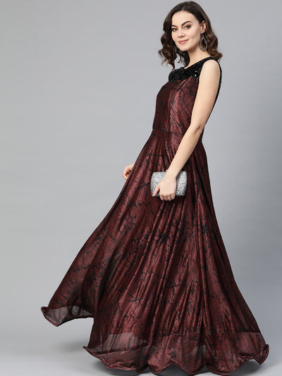 Chhabra 555 Maroon Black Cocktail Gown with Sequin embroidered neckline and contemporary animal print