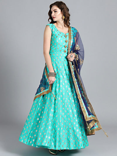 Chhabra 555 Peacock & Navy Blue Banarasi Silk Foil Print Embellished Stitched Anarkali Kurta Set With Heavy Net Dupatta