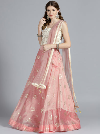 Chhabra 555 Pink Raw Silk Floral Parttern Lehenga with Crystal and Zircon Hand Embroidered contrast Cream color Blouse