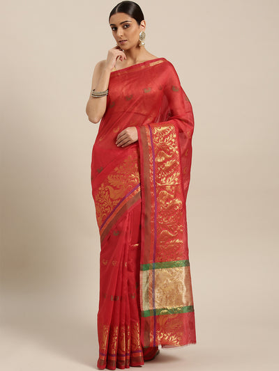 Chhabra 555 Banarasi Brocade Chanderi Silk saree with Zari weaving in a floral Peacock pattern