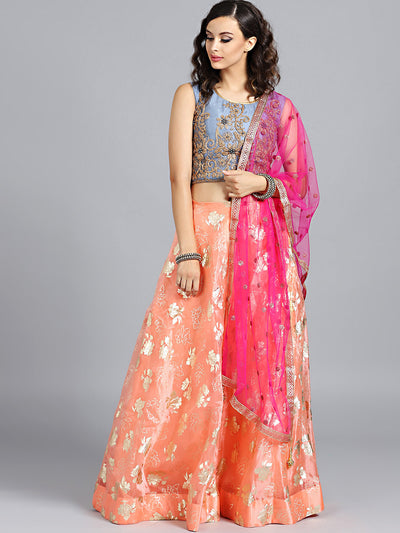 Chhabra 555 Orange & Grey Foil Printed Tissue Hand Embroidered Stitched Lehenga Choli With Heavy Net Dupatta