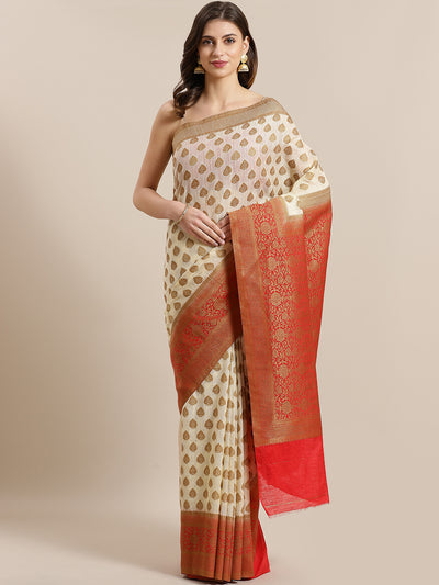 Chhabra 555 Banarasi Jute Cotton Silk saree with Oxidised Zari weaving Contrast Heavy Border,Pallu