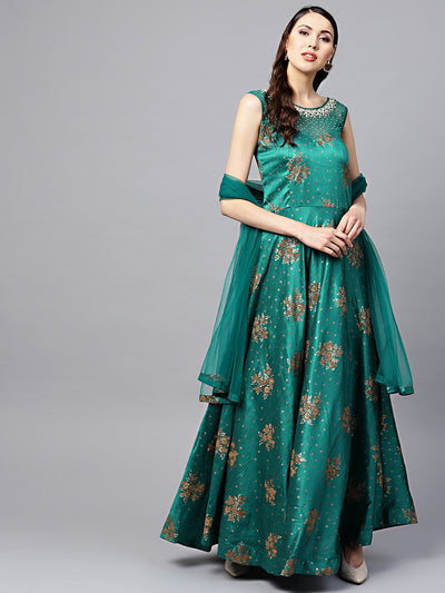 Chhabra 555 Made to Measure Turquoise Embellished Anarkali Kurta Set with Pearl Embellishments and Foil Print