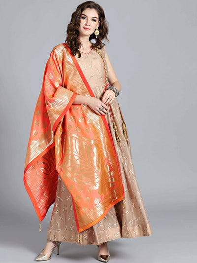 Chhabra 555 Persian Brown & Orange Art Silk Foil Print Embellished Stitched Anarkali Kurta Set With Heavy Banarasi Dupatta