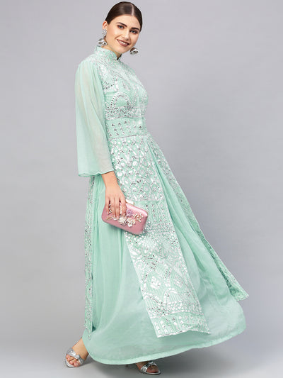 Chhabra 555 Made to Measure Floor length Turquoise Layered Cocktail Gown with Chikankari and Gota embroidery