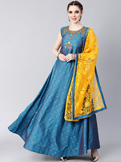 Chhabra 555 Blue Anarkali Hand crafted Kurta Set with Jeweled Neckline and Embroidered Silk kurta