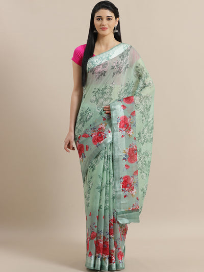 Chhabra 555 Sea Green Jute Cotton Silk saree with Floral Digital print and Satin Broad Border