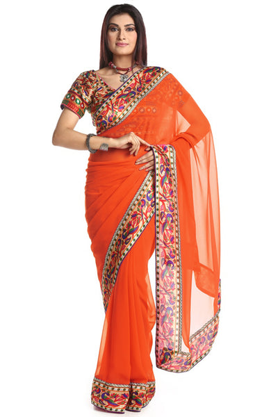 Chhabra 555 Orange Georgette Party Wear Saree With Paithani Blouse & Border