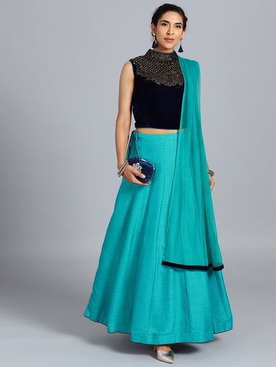 Chhabra 555 Blue & Firozi Micro Raw Silk Swarovski Embellished Stitched Lehenga Choli With Net Dupatta