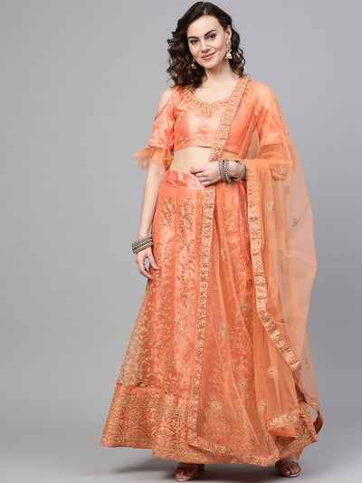 Chhabra 555 Peach Net Semi-stitched Lehenga Set with Jaal Gold Kasab Zari Work with Floral Motifs