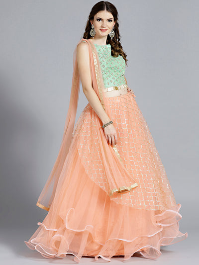 Chhabra 555 Checkered Peach color Lehenga with sequin embroidery and Contrast Green Resham and Zircon Embroidered Green blouse
