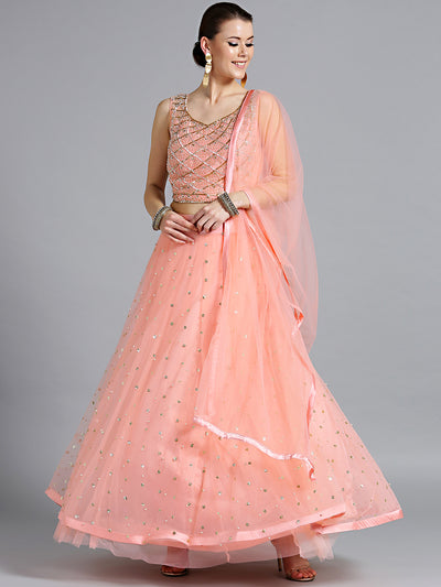 Chhabra 555 peach Net Crop top Made-To-Measure Lehenga With Pearl, Sequin, Cut-dana embellishments