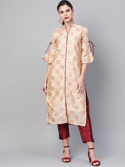 Chhabra 555 Made to Measure Kurta Pallazo Set With Embossed Rubber Print and Stylized Buttons