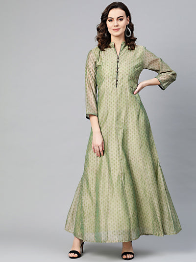 Chhabra 555 Made to Measure Anarkali Printed Kurta Dress with pearl embellishments and Ikat inspired floral print