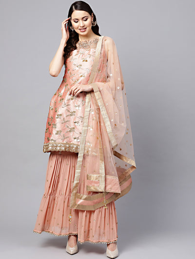 Chhabra 555 Made to Measure Peach Kurta Sharara Set with Zari Sequin Embroidery