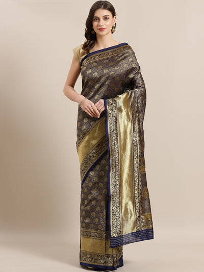 Chhabra 555 Kanjiwaram inspired French silk saree with Oxidised Zari Weaving in Mughal ethnic motifs
