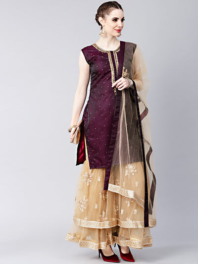 Chhabra 555 Made-to-measure Kurta Sharara Set with Crystal Embellished kurta and Embroidered Sharara