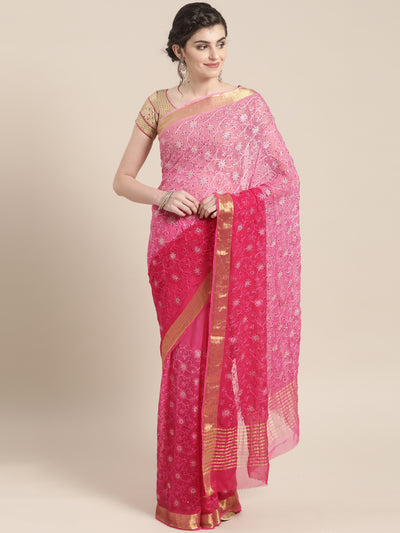 Chhabra 555 Chiffon Crystal Embellished Bandhej Saree with Resham Embroidered Floral Motifs