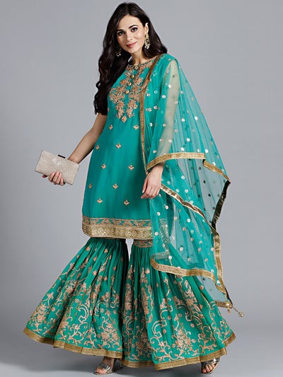 Chhabra 555 Teal Kundan Embroidered Georgette Kurta With printed Sharara and tasseled dupatta