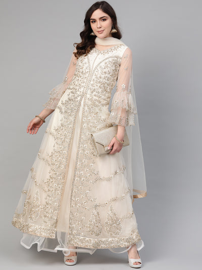 Chhabra 555 Made to Measure Cocktail Gown with Resham Zari Embroidery, Bell sleeves and Assymetrical Layered Hemline