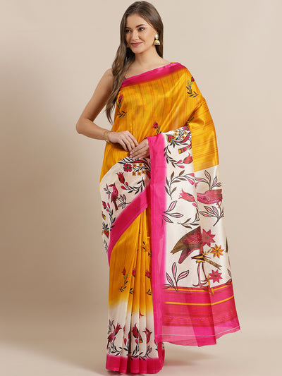 Chhabra 555 Yellow Bhagalpuri Silk Printed Digital Saree with Floral Design and Contrast Rani Blouse