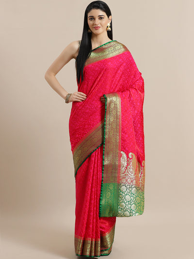 Chhabra 555 Magenta Jamdani Banarasi Silk Saree with Paisley Golden Zari Pallu with Contrast Blouse