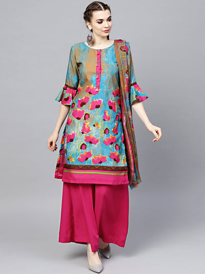 Chhabra 555 Teal Pink Floral Printed Crepe Made-to-Measure Kurta Set with Chiffon Dupatta