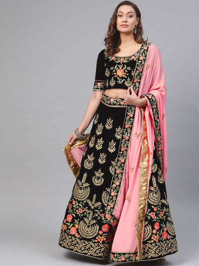 Chhabra 555 Velvet Semi-stitched Lehenga set with gota patti and resham embroidery